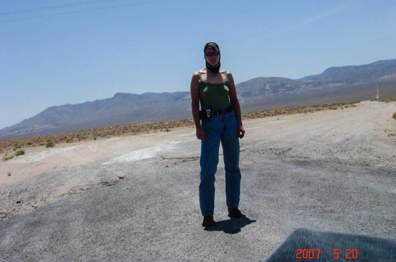 A self portrait taken just outside of Death Valley.